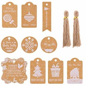 Kiiwah 200 Stück Weihnachten Kraftpapier Etiketten Weihnachts Geschenkanhänger Anhänger Etiketten - 1