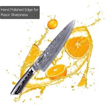 Kitchen Emperor Küchenmesser, Kochmesser 20 cm, Allzweckmesser Scharfe Klinge, Prämie Rostfreier Stahl Chef Messer mit pakakaholzgriff - 3