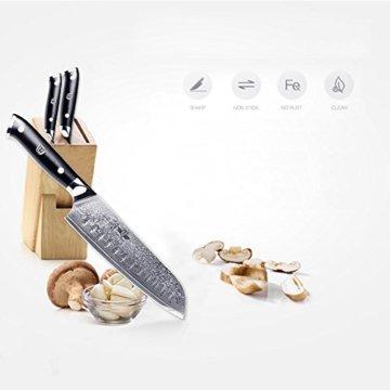 Kitchen Emperor Santokumesser, Damastmesser Küchenmesser, Kochmesser 67 Schichten Damastmesser mit G10 Griff - 3
