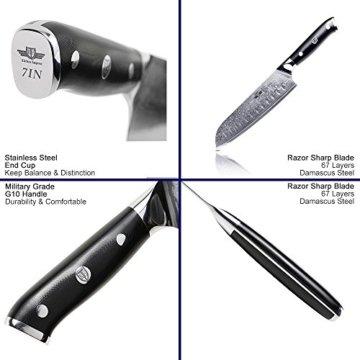 Kitchen Emperor Santokumesser, Damastmesser Küchenmesser, Kochmesser 67 Schichten Damastmesser mit G10 Griff - 5