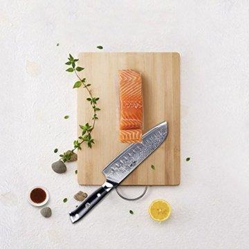Kitchen Emperor Santokumesser, Damastmesser Küchenmesser, Kochmesser 67 Schichten Damastmesser mit G10 Griff - 6