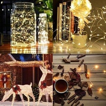 Kolpop LED Lichterkette Batterie [4 Pack], Lichterketten für Zimmer, 5m 50er Micro LED Lichterkette Draht Innen Batteriebetrieben für Party Weihnachten Weihnachtsbaum Halloween Hochzeit Deko(Warmweiß) - 2