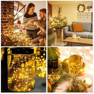 Kolpop LED Lichterkette Batterie [4 Pack], Lichterketten für Zimmer, 5m 50er Micro LED Lichterkette Draht Innen Batteriebetrieben für Party Weihnachten Weihnachtsbaum Halloween Hochzeit Deko(Warmweiß) - 3