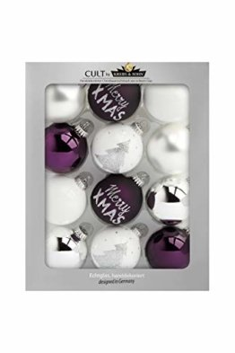 KREBS & SOHN 12er Set Weihnachtskugeln aus Glas - Christbaumschmuck Christbaumkugeln Weihnachtsdeko - Weiß, Lila, Silber - 1