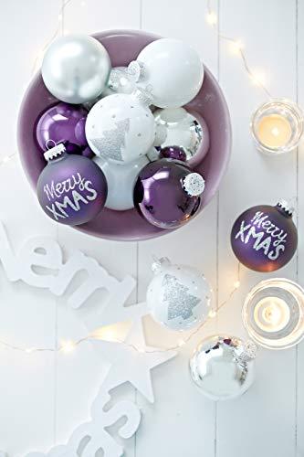 KREBS & SOHN 12er Set Weihnachtskugeln aus Glas - Christbaumschmuck Christbaumkugeln Weihnachtsdeko - Weiß, Lila, Silber - 2