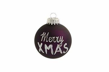 KREBS & SOHN 12er Set Weihnachtskugeln aus Glas - Christbaumschmuck Christbaumkugeln Weihnachtsdeko - Weiß, Lila, Silber - 3