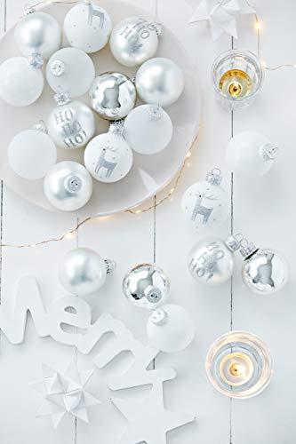 KREBS & SOHN 20er Set Glaskugeln - Weihnachtsbaumschmuck zum Aufhängen - Christbaumkugeln - Weiß, Silber und Glitzer - 5