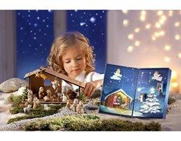 Krippe Adventskalender Krippe Figuren Weihnachtskrippe Weihnachten Krippenfiguren mit Holzstall - 1