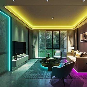 Ksipze LED Strip 10m RGB LED Lichterkette Streifen Lichtband mit Fernbedienung,Farbwechsel Hell 5050 LED Band Leiste Lichterketten Klebeband Selbstklebende für Zuhause, Schrank, Schlafzimmer(2 * 5M) - 3