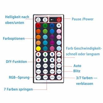 Ksipze LED Strip 10m RGB LED Lichterkette Streifen Lichtband mit Fernbedienung,Farbwechsel Hell 5050 LED Band Leiste Lichterketten Klebeband Selbstklebende für Zuhause, Schrank, Schlafzimmer(2 * 5M) - 4