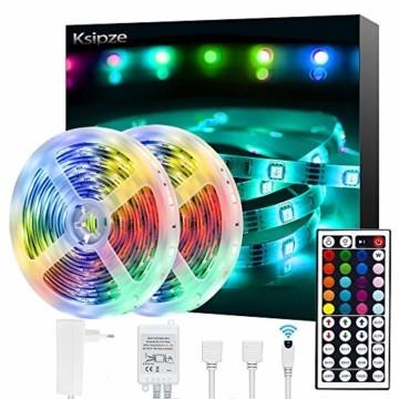 Ksipze LED Strip 10m RGB LED Lichterkette Streifen Lichtband mit Fernbedienung,Farbwechsel Hell 5050 LED Band Leiste Lichterketten Klebeband Selbstklebende für Zuhause, Schrank, Schlafzimmer(2 * 5M) - 1