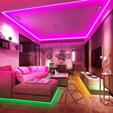 Ksipze LED Strip 10m RGB LED Lichterkette Streifen Lichtband mit Fernbedienung,Farbwechsel Hell 5050 LED Band Leiste Lichterketten Klebeband Selbstklebende für Zuhause, Schrank, Schlafzimmer(2 * 5M) - 5