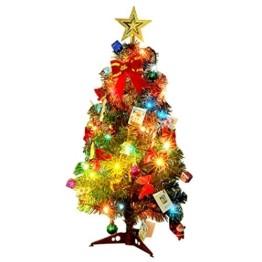 Künstlicher Weihnachtsbaum, outgeek Tannenbaum Christbaum 60cm(24'') grün Weihnachtsbaum klein mit Beleuchtung Multicolor LED und Weihnachtsschmuck (60cm mit LED) - 1