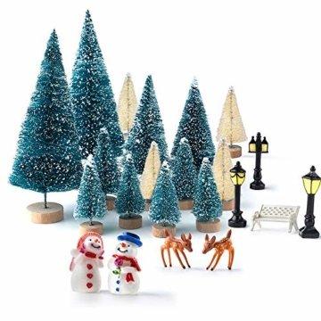 KUUQA 31 Stücke Mini Modell Schnee Frost Bäume Flasche Pinsel Bäume Kunststoff Winter Schnee Ornamente Tabletop Modell Bäume für DIY Wohnkultur Tischdekoration Diorama Modelle - 1