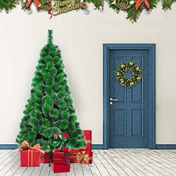 LARS360 180cm Grüne Tannennadeln mit Schnee-Effekt Künstliche Weihnachtsbaum Christbaum Tannenbaum inkl. Metallständer mit Klappsystem Für Aussen Weihnachtsdeko Innen Weihnachten-Dekoration - 4