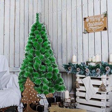 LARS360 180cm Grüne Tannennadeln mit Schnee-Effekt Künstliche Weihnachtsbaum Christbaum Tannenbaum inkl. Metallständer mit Klappsystem Für Aussen Weihnachtsdeko Innen Weihnachten-Dekoration - 5