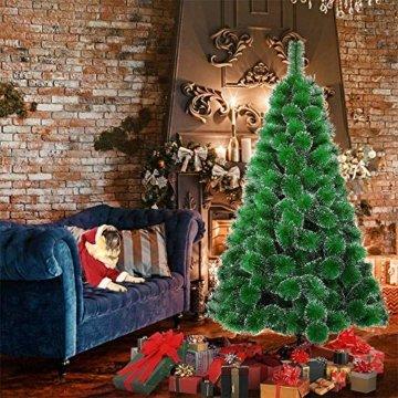 LARS360 180cm Grüne Tannennadeln mit Schnee-Effekt Künstliche Weihnachtsbaum Christbaum Tannenbaum inkl. Metallständer mit Klappsystem Für Aussen Weihnachtsdeko Innen Weihnachten-Dekoration - 6
