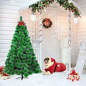 LARS360 180cm Grüne Tannennadeln mit Schnee-Effekt Künstliche Weihnachtsbaum Christbaum Tannenbaum inkl. Metallständer mit Klappsystem Für Aussen Weihnachtsdeko Innen Weihnachten-Dekoration - 9