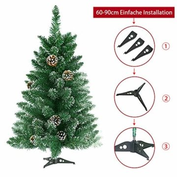 LARS360 90cm Künstlicher Weihnachtsbaum 3ft Christbaum Tannenbaum Grüne PVC mit Schnee-Effekt inkl. Ständer Künstliche Tanne mit Klappsystem Für Aussen Weihnachtsdeko Innen - 3