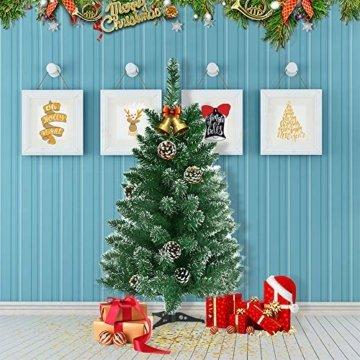 LARS360 90cm Künstlicher Weihnachtsbaum 3ft Christbaum Tannenbaum Grüne PVC mit Schnee-Effekt inkl. Ständer Künstliche Tanne mit Klappsystem Für Aussen Weihnachtsdeko Innen - 4