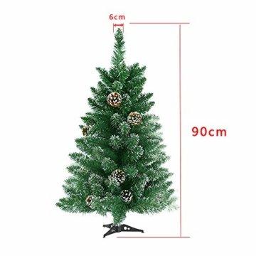 LARS360 90cm Künstlicher Weihnachtsbaum 3ft Christbaum Tannenbaum Grüne PVC mit Schnee-Effekt inkl. Ständer Künstliche Tanne mit Klappsystem Für Aussen Weihnachtsdeko Innen - 6