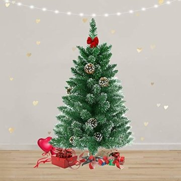 LARS360 90cm Künstlicher Weihnachtsbaum 3ft Christbaum Tannenbaum Grüne PVC mit Schnee-Effekt inkl. Ständer Künstliche Tanne mit Klappsystem Für Aussen Weihnachtsdeko Innen - 7