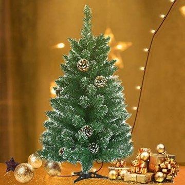 LARS360 90cm Künstlicher Weihnachtsbaum 3ft Christbaum Tannenbaum Grüne PVC mit Schnee-Effekt inkl. Ständer Künstliche Tanne mit Klappsystem Für Aussen Weihnachtsdeko Innen - 8