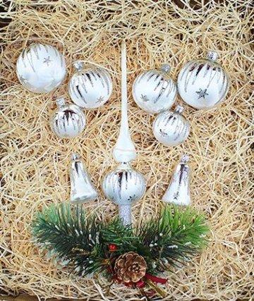 Lauscha 40er Christbaumschmuck, Weihnachtsbaumkugel Set, Eislack Weiß Silber Zacken, 38 Kugeln+Spitze, Handarbeit - 2