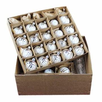 Lauscha 40er Christbaumschmuck, Weihnachtsbaumkugel Set, Eislack Weiß Silber Zacken, 38 Kugeln+Spitze, Handarbeit - 1