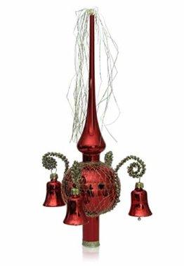 Lauschaer Glas Weihnachtsbaumspitze mit Glöckchen rot Glanz, umsponnen L ca. 28cm d(Kugel) 7cm Christbaumschmuckspitze mundgeblasen,handdekoriert,Leonischer Draht - 1