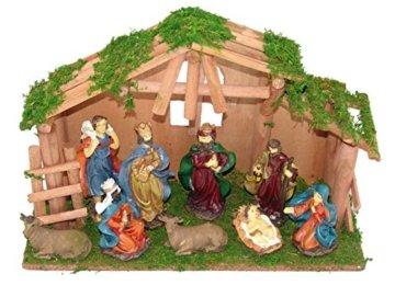 LD Weihnachten Deko Weihnachtskrippe 10 teilig Krippenstall Holz Krippe Figuren Bethlehem Heilige (Lieferzeit ist 3-7 Tagen) - 1