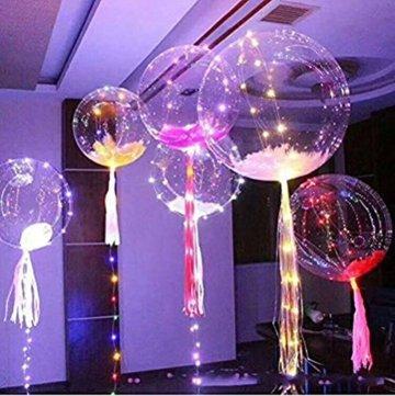 LED Bobo Balloons Transparente Runde Form Balloons Party Blinklicht Ballons Perfekt für Valentinstag Party Hochzeit Urlaub Dekoration (10PCS) - 5