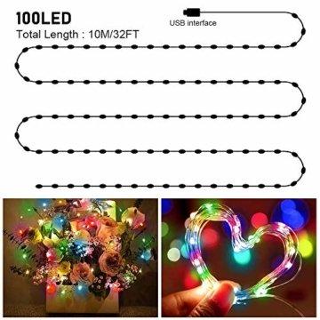 LED Bunt Lichterkette Innen, 16 Farben 10M 100 LED USB Kupferdraht Lichterkette Außen mit Fernbedienung & 4 Modi, Wasserdichte IP68 Farbwechsel Lichterkette für Zimmer, Weihnachten, Party, Hochzeit - 2