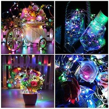 LED Bunt Lichterkette Innen, 16 Farben 10M 100 LED USB Kupferdraht Lichterkette Außen mit Fernbedienung & 4 Modi, Wasserdichte IP68 Farbwechsel Lichterkette für Zimmer, Weihnachten, Party, Hochzeit - 4