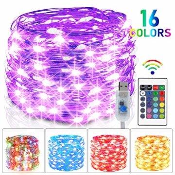 LED Bunt Lichterkette Innen, 16 Farben 10M 100 LED USB Kupferdraht Lichterkette Außen mit Fernbedienung & 4 Modi, Wasserdichte IP68 Farbwechsel Lichterkette für Zimmer, Weihnachten, Party, Hochzeit - 1