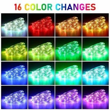 LED Bunt Lichterkette Innen, 16 Farben 10M 100 LED USB Kupferdraht Lichterkette Außen mit Fernbedienung & 4 Modi, Wasserdichte IP68 Farbwechsel Lichterkette für Zimmer, Weihnachten, Party, Hochzeit - 5