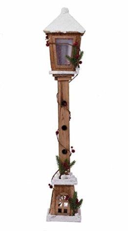 LED Holz Laterne 81 cm - Deko Wegleuchte mit 15 LED - Weihnachtsdeko Stehlampe - 1