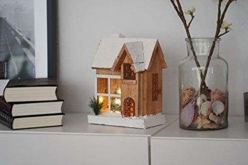 LED Holz Weihnachtshaus 26 cm - Weihnachtsdeko Haus 5 LED - Deko Holzhaus Winterhaus beleuchtet - 2