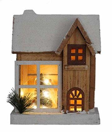 LED Holz Weihnachtshaus 26 cm - Weihnachtsdeko Haus 5 LED - Deko Holzhaus Winterhaus beleuchtet - 1