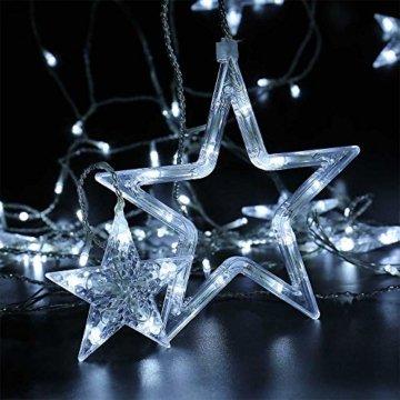 LED Lichterkette 12 Sterne, Lichtervorhang weihnachtslichter Sternenvorhang 138 LEDs 8 Modi Für Innen Außen, Weihnachten, Party, Hochzeit, Garten, Balkon, Deko (Kaltweiß) - 3