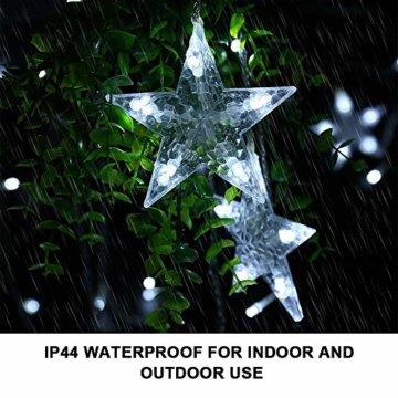 LED Lichterkette 12 Sterne, Lichtervorhang weihnachtslichter Sternenvorhang 138 LEDs 8 Modi Für Innen Außen, Weihnachten, Party, Hochzeit, Garten, Balkon, Deko (Kaltweiß) - 6