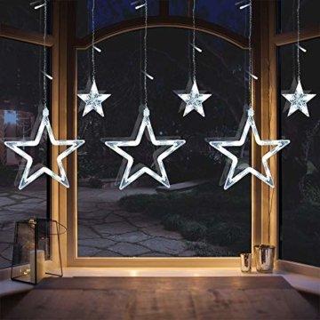 LED Lichterkette 12 Sterne, Lichtervorhang weihnachtslichter Sternenvorhang 138 LEDs 8 Modi Für Innen Außen, Weihnachten, Party, Hochzeit, Garten, Balkon, Deko (Kaltweiß) - 7