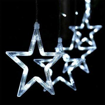 LED Lichterkette 12 Sterne, Lichtervorhang weihnachtslichter Sternenvorhang 138 LEDs 8 Modi Für Innen Außen, Weihnachten, Party, Hochzeit, Garten, Balkon, Deko (Kaltweiß) - 9