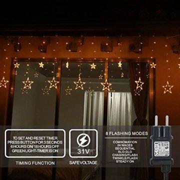 LED Lichterkette 12 Sterne, Lichtervorhang weihnachtslichter Sternenvorhang 138 LEDs 8 Modi Für Innen Außen, Weihnachten, Party, Hochzeit, Garten, Balkon, Deko(Warmweiß) - 3