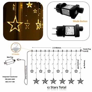 LED Lichterkette 12 Sterne, Lichtervorhang weihnachtslichter Sternenvorhang 138 LEDs 8 Modi Für Innen Außen, Weihnachten, Party, Hochzeit, Garten, Balkon, Deko(Warmweiß) - 7
