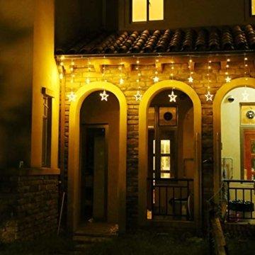 LED Lichterkette 12 Sterne, Lichtervorhang weihnachtslichter Sternenvorhang 138 LEDs 8 Modi Für Innen Außen, Weihnachten, Party, Hochzeit, Garten, Balkon, Deko(Warmweiß) - 8