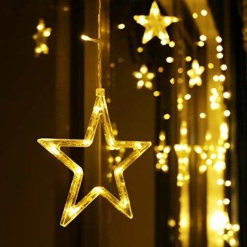 LED Lichterkette 12 Sterne, Lichtervorhang weihnachtslichter Sternenvorhang 138 LEDs 8 Modi Für Innen Außen, Weihnachten, Party, Hochzeit, Garten, Balkon, Deko(Warmweiß) - 9
