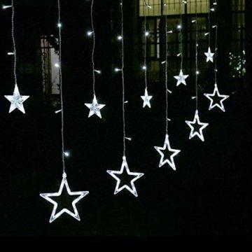 LED Lichterkette 12 Sterne, Lichtervorhang weihnachtslichter Sternenvorhang 138 LEDs 8 Modi Für Innen Außen, Weihnachten, Party, Hochzeit, Garten, Balkon, Deko (Kaltweiß) - 1