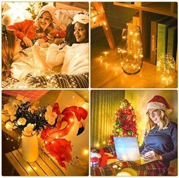 LED Lichterkette Batterie 20 Stück Kupferdraht Drahtlichterkette Warmweiß 2M 20 LEDs Weihnachtsbeleuchtung String Fairy Light für Innen und Außen Dekoration Party Garden Christmas Dekor Flasche DIY - 3