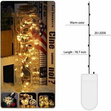 LED Lichterkette Batterie 20 Stück Kupferdraht Drahtlichterkette Warmweiß 2M 20 LEDs Weihnachtsbeleuchtung String Fairy Light für Innen und Außen Dekoration Party Garden Christmas Dekor Flasche DIY - 5